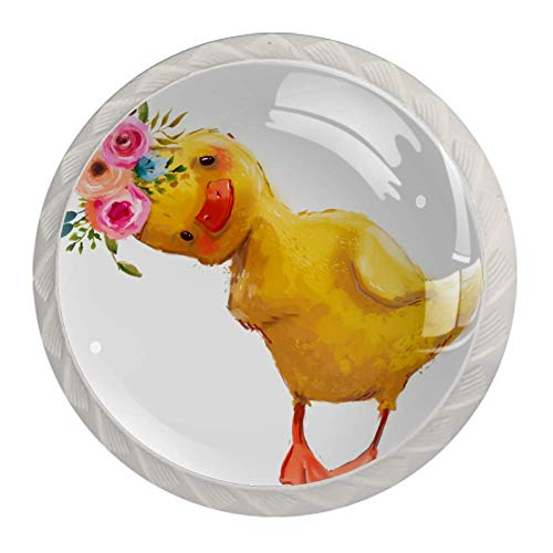 Zuyoon Unique Designed Glass Knobs Little Duck Garland Multi Style Pattern White Cupboard Cabinet Door Knobs Drawer Pulls (4 Packs) 1.38x1.10IN