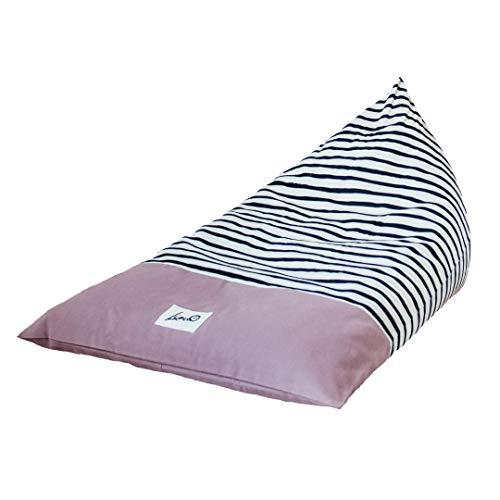 """Liou Sitzsack für Kinder und Erwachsene aus Bio-Baumwolle """"Viola Zebra"""", 110x70x60 cm, Farbe: Viola (lila) inkl. EPS-Perlen Füllung Premium Qualität (Made in Germany)"""