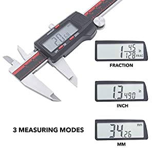 VINCA DCLA-1205 Quality Electronic Digital Vernier Caliper Inch/Metric/Fractions Conversion 0-12 Inch/300 mm Stainless Steel Body Red/Black Extra Large LCD Screen Auto Off Featured Measuring Tool