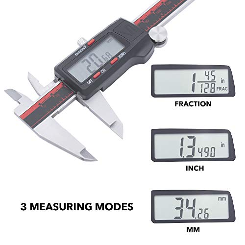 VINCA DCLA-0605 Electronic Digital Vernier Micrometer Caliper Measuring Tool Stainless Steel Large LCD Screen 0-6 Inch/150mm, Inch/Metric/Fractions, Red/Black