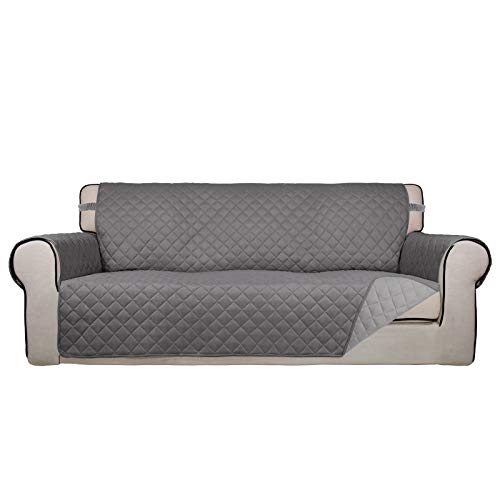 PureFit Reversible Quilted Sofa Cover, Water Resistant Slipcover Furniture Protector, Washable Couch Cover with Non Slip Foam and Elastic Straps for Kids, Dogs, Pets (Oversized Sofa, Gray/LightGray)