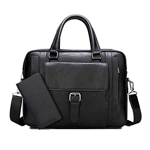 Pan&Bazstny Male Business Handbag Shoulder Travel Bags Big Size Briefcase Bags Split Leather 8868-8888-Black