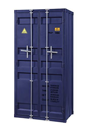 Fantastic Prices! Benjara Metal Base Double Door Storage Wardrobe with Slated Pattern, Gray