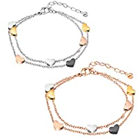 Rosegold herz Damen Armband Edelstahl Armkette Armschmuck Armband mit herz Anhängern Doppelt Kette Armband für Frauen Mädchen Armkette stern Freundschaftsarmband Freundschaftsarmbänder