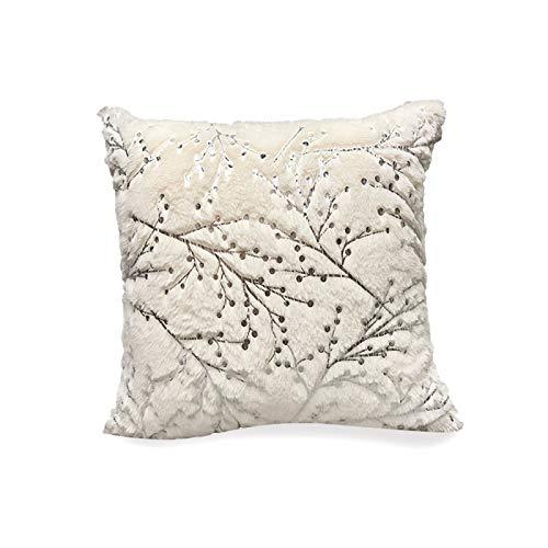 QXbecky Fundas de Cojines Funda de Almohada Cuadrada de Felpa de Rama Blanca Plateada Caliente sin Funda de Almohada de Microfibra de decoración de sofá Central 45cm