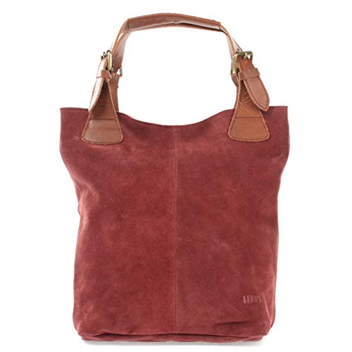 LECONI Henkeltasche Echt-Leder Wildleder Damentasche Handtasche für Damen Shopper für Freizeit, Büro oder Shopping Beuteltasche Frauen Ledertasche Veloursleder 34x35x10cm bordeaux LE0033-V