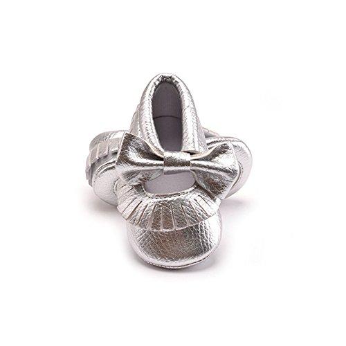 Morbuy Baby Schuhe, Niedlich Baby Säugling Kind Junge Mädchen weiche Sohle Kleinkind Schuhe Quaste Gummiband (6-12 Monate/12CM/4.72 inches, Silber)