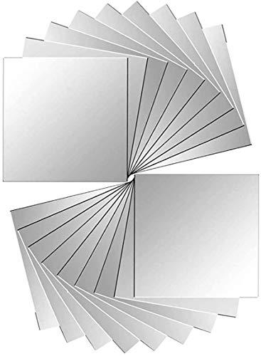 Pegatina espejo 48 Unidades Espejo Adhesivo 15x15cm para Cuarto de Baño Dormitorio Papel Tapiz Pegar Mosaico Espejo