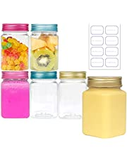 350ml Transparent Plastic Storage Container with Metal Lid, BPA-free Refillable Square Containers, Food Grade storage Jars