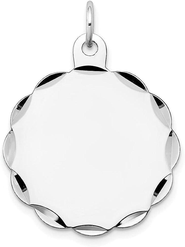 14k White Gold .018 Gauge Engraveable Scalloped Disc Pendant (L- 29 mm, W- 24 mm)