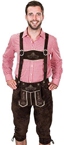 Bayerische Trachtenlederhose, Herren Trachten Lederhose mit Trägern, original in Dunkelbraun, Oktoberfest, Größe 48