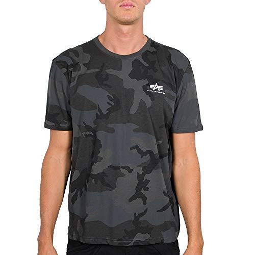 ALPHA INDUSTRIES Herren Basic T Small Logo Camo T-Shirt, Negro, Large