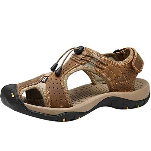 Sandalen Herren,SANFASHION Sommer Outdoor Leder Wohnungen Schuhe Atmungsaktiv Sport Schuhe Beiläufige Strand Hausschuhe