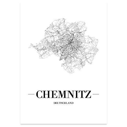 JUNIWORDS Stadtposter - Wähle Deine Stadt - Chemnitz - 30 x 40 cm Poster - Schrift A - Weiß