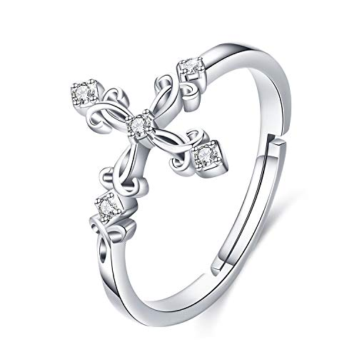 JUSTKIDSTOY 925 Sterling Silver Celtic Knot Rings Adjustable Open Wrap Celtic Knot Band Ring Good Luck Irish Jewelry for Women - Size 7-9