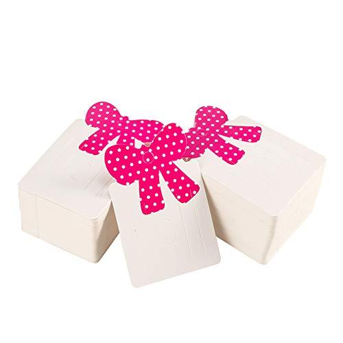 nbeads 300 Pcs Cartes D'Affichage de Bijoux, Pince à Cheveux Accrochant Les Cartes de Suspension de Support avec l'arc Rose pour Les Cartes D'Affichage de Barrettes de Cheveux