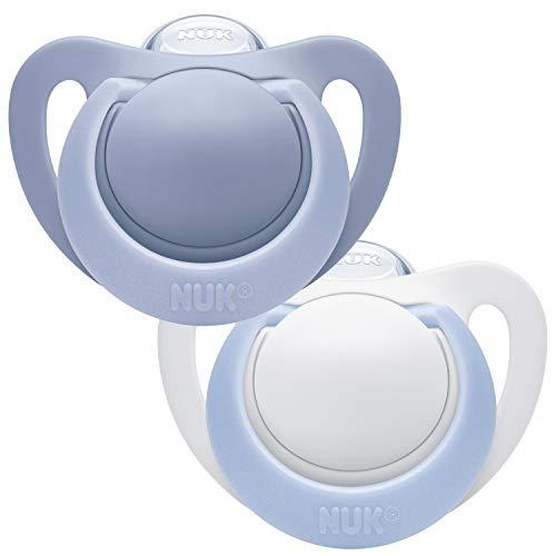 NUK Succettes Genius, 18-36 Mois, Sans BPA, Extra douce, Bleu (Garçon), Set de 2