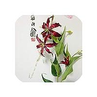 右店炎のユリシングルブランチホームパーティーの結婚式のための人工花クリスマスの装飾絹の偽造花、ワインレッド