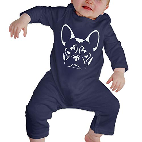 Olyha Baby Long Sleeve Onesies French Bulldog Bodysuit Cotton Toddler Romper Coveralls for Boys Girls Navy