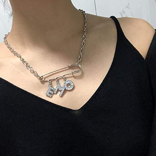 QLRL Harajuku Alphabet Kristall Sicherheitsnadel Anhänger Titan Stahlhalsband Halskette Hip Hop Punk Frauen Schmuck Paar Geschenk