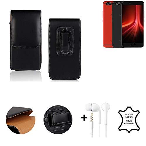 K-S-Trade® Leder Gürtel Tasche + Kopfhörer Für UMIDIGI Z1 Pro Seitentasche Belt Pouch Holster Handy-Hülle Gürteltasche Schutz-Hülle Etui Schwarz 1x
