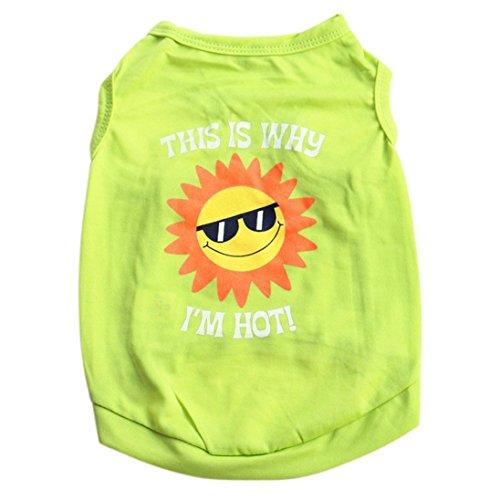 Price comparison product image Pet T-Shirt,  Tloowy Summer Pet Clothes T-Shirt Cotton Dog Cat Puppy Sun Print Vest Tank Tops Chihuahua Teddy Shirts (Green,  L)