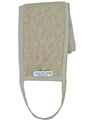 Dos Sangle Exfoliante en Lin Naturel AIRA, 60% Lin, 40% Coton - Beige (15 x 70cm)