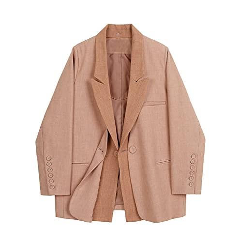 NSWT Chaqueta de temperamento de tamaño grande falso para mujer, nueva solapa, manga larga, chaqueta holgada, moda, primavera, otoño (Color : Pink, Size : L code)