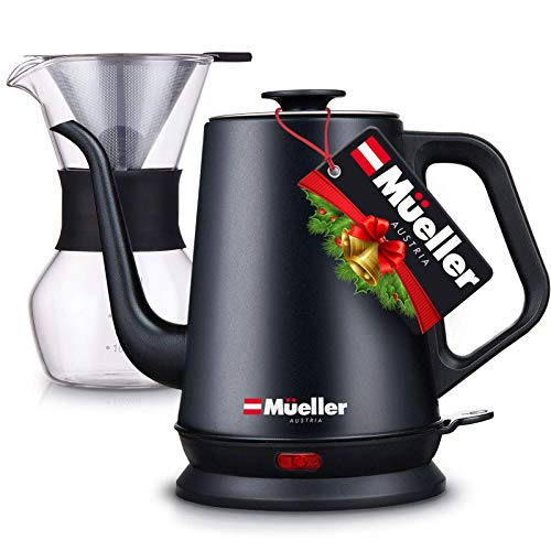 Mueller Electric Kettle Gooseneck with Pour Over Drip Set, Pour Over Coffee Maker, Stainless Steel Coffee Kettle & Tea Kettle, Matte