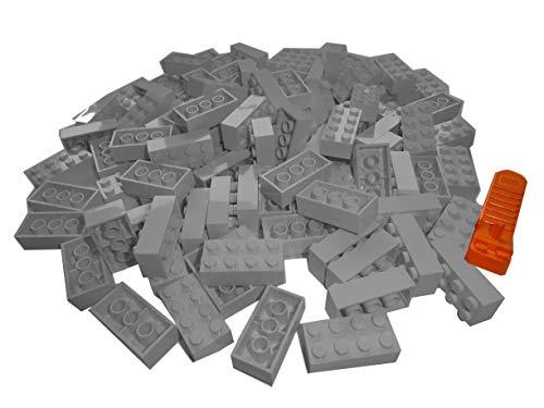 LEGO Classic. 100 Stück 2 x 4 Steine mit Steinetrenner (Hellgrau)