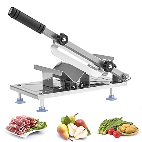 Meat Slicer - Kesntto, Stainless Steel Ribs Bone Cutter, Adjustable Manual Cutting Machine, Frozen Meat Slicer and Vegetable Chopper