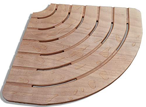 Castelmerlino Tarima para ducha Okumè marino contrachapado lado esquina 61 cm para platos de ducha lado 80 cm