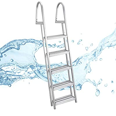 RecPro 5 Step Removable Boarding Boat Ladder | AL-A5 | Marine Pontoon Boat Dock | Heavy Duty Aluminum