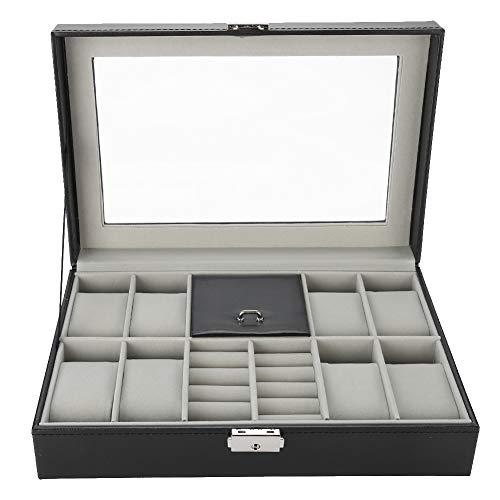 LXYPLM Uhrenbox Uhrenkasten Schmuckkästchen Multifunktionsuhr Aufbewahrungskoffer Box 8 Slots Pu-Leder Schmuckanzeige Box Halter Organizer Mit Glasdeckel Ring Aufbewahrungsbox Schwarz