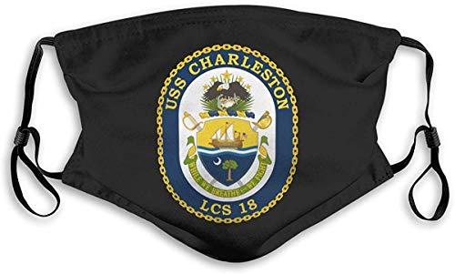 wanglinbin11 Mundschutz USS Charleston Lcs-18 Combat Ship Personalisierter Mundschutz mit Filter Unisex Waschbarer wiederverwendbarer Mundschutz