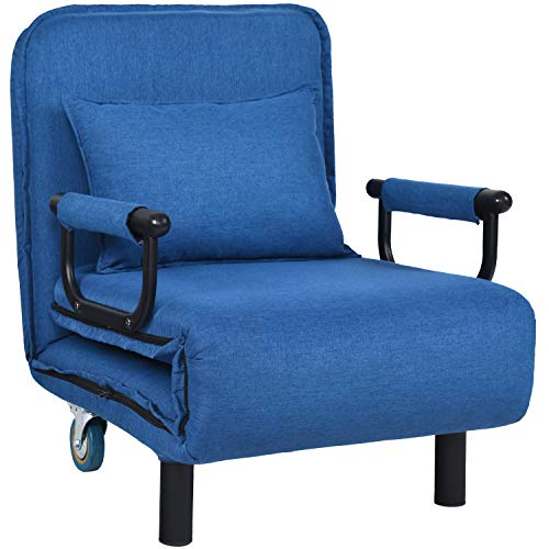 Sofa Bed 3-in-1 Convertible Chair Multi-Functional Adjustable 5 Position Recliner, Modern Linen Fabric with Wheels and Pillow, Folding Lounge Chaise for Living Room and Bedroom