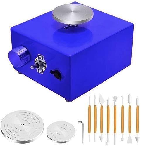 S SMAUTOP Mini Roue de poterie, Mini Machine de poterie électrique 6,5 cm 10 cm Platine pour Le Travail en céramique Artisanat d'argile en céramique (Bleu)
