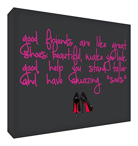 Feel Good Art Bloc de décoration polie en diamant (14,8 x 10,5 x 2 cm, petit, noir, les amis sont comme des chaussures)