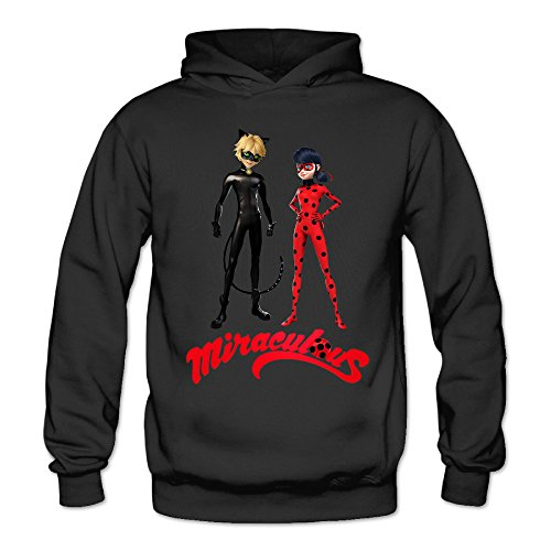 MSKOOK Women's Miraculous Ladybug Anime Hooded Sweatshirt Black