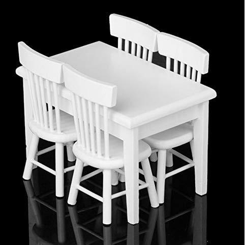 5Pezzi Set Tavolo da Pranzo Sedia Modello casa delle Bambole in Miniatura mobili weiss1/12Uso Quotidiano Oggetti