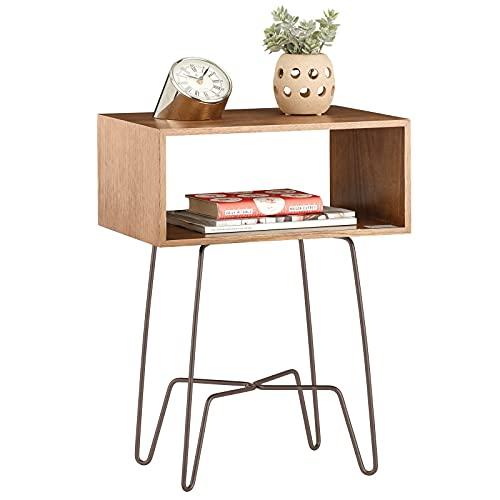 mDesign Mesita auxiliar de madera y metal pequeña – Mesa auxiliar vintage y minimalista para el salón o el dormitorio – Mesa de centro con moderno diseño de horquilla – marrón y bronce