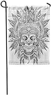Art5tore Garden Flags Seasonal Flag Funny Flag 12x18 Inches Indian Skull of Native American in Chief Headdress Drawn Tattoo Wild Outdoor Decorative House Welcome Garden Flag Seasonal