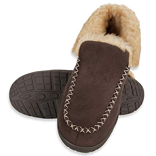 Chaps Men's Suede Moccasin Slipper House Shoe with Memory Foam Indoor/Outdoor Nonslip Sole Slipper, Brown Bootie, XX-Large
