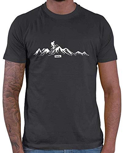 HARIZ Herren T-Shirt Mountainbike Fahrrad Berge Mountain Plus Geschenkkarten Dunkel Grau M