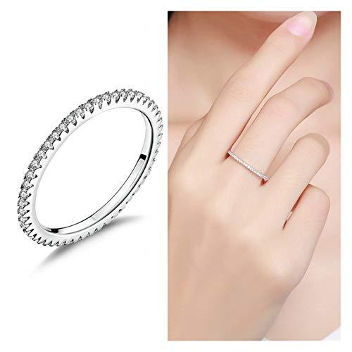 LPZW 女性クリスマスGIFT BKR066のために100%本物の925のスターリングシルバーのシンプルな幾何学ラウンドシングルスタッカブルの指輪 (Gem Color : BKR066, Ring Size : 9)