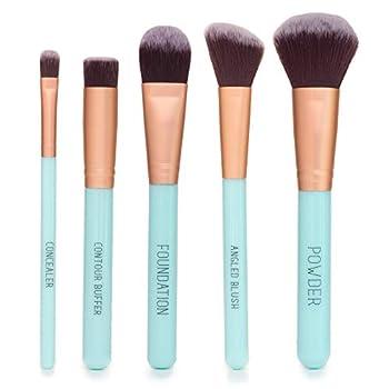 Nicole Miller Makeup Brush Collection 5 Piece Makeup Brush Gift Set Powder Brush Foundation Brush Concealer Brush Angled Blush Brush and Contour Buffer  Green