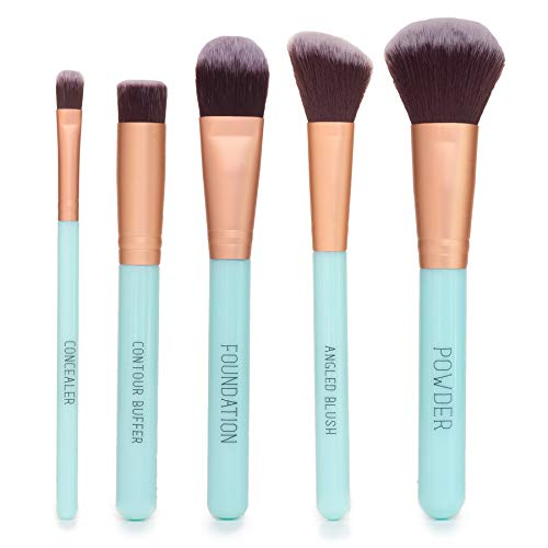 Nicole Miller Makeup Brush Collection 5 Piece Makeup Brush Gift Set Powder Brush Foundation Brush Concealer Brush Angled Blush Brush and Contour Buffer Green