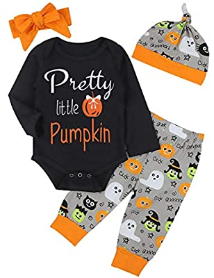4Pcs Halloween Outfit Set Baby Boy Girl Funny Romper Pretty Little Pumpkin with Ghost Pants?6-12Months?