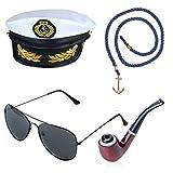 Beelittle Yacht Capitaine Chapeau Costume Accessoires Ensemble Réglable...