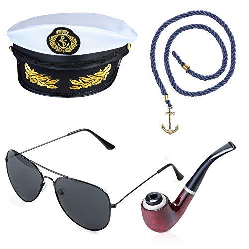 Beelittle Yacht Capitán Sombrero Accesorios de Disfraces Conjunto Barco Ajustable Marinero Nave Skipper Gorra Aviador Gafas de Sol Pipa de Tabaco con Accesorios de diseño de Ancla (C)